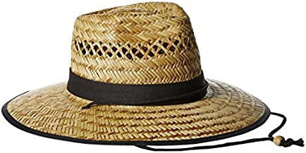 San Diego Hat Co. Men's Upf 50 Wide Brim Straw Lifeguard Outback Sun, Natural, One Size