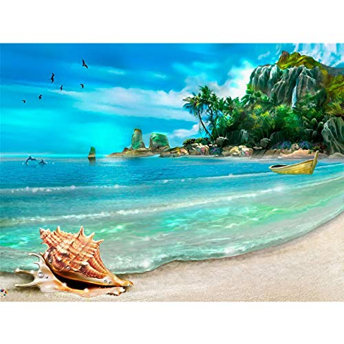 Kingspa - Kit de pintura de diamantes de imitación para adultos 5D de 12 x 16 pulgadas con concha de playa de verano 5D para manualidades y decoración de pared