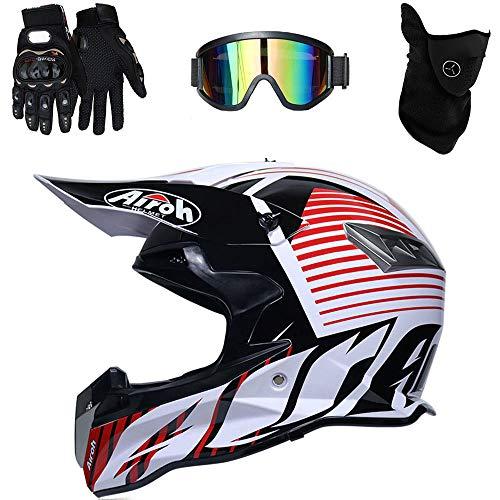 Casco de Motocross Endurance ATV Fibra de Carbono Casco de la certificación D. O. T, Incluyendo Gafas/Guantes/máscara,A,S(55~56cm)