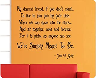 Now and Forever We're Simply Meant to Be Nightmare Before Christmas Jack Sally Skellington Wall Decal Quote Sticker Large Art Mural Home Décor