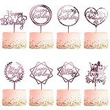 8 Piezas Decoración de Tartas, CBGGQ Happy Birthday Cake Topper, Decoración para Cupcakes para diferentes fiestas de cumpleaños, para niñas, bebés, bodas, madres, familiares de Cumpleaños (Oro rosa)