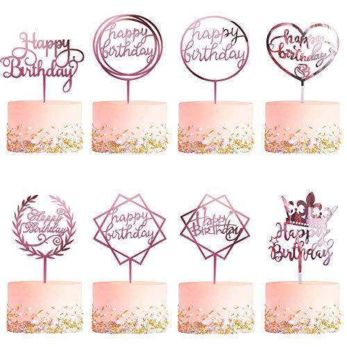 CBGGQ 8 Pezzi Oro Rosa Happy Birthday Cake Topper, Acrilico Topper per Torta Compleanno, Decorazione per Torte di Compleanno per bambine, matrimoni, madri, Feste Glitter Party Decorations (8 Pcs)