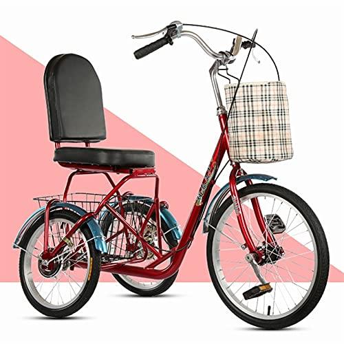 SN Mini Triciclo para Adultos Trike Cruiser Bike Bicicleta 3 Ruedas con Cesta Grande Delantera Trasera Hombres Mujeres Picnics Y Compras Triciclo (Color : Red)