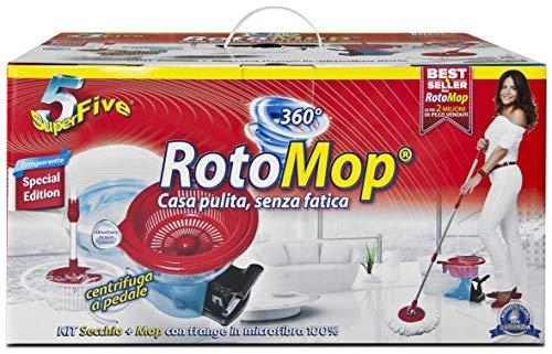 Rotomop DOR442, Scopa con Secchio di Tergipavimento, Rosso