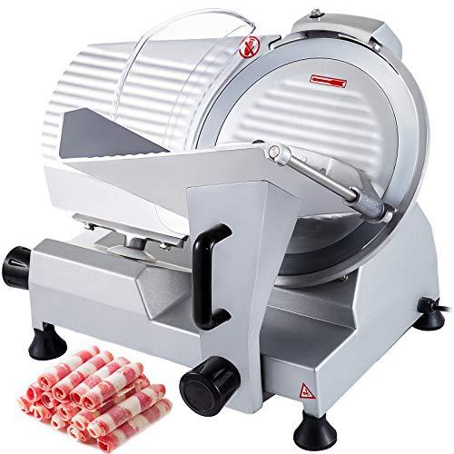 BuoQua Aufschnittmaschine Gastro Allesschneider Edelstahl 10 Zoll Schneidemaschine Küche Schnittstärke 0-17 mm Meat Slicer Electric Slicer für Fleisch Gemüse Obst Restaurants
