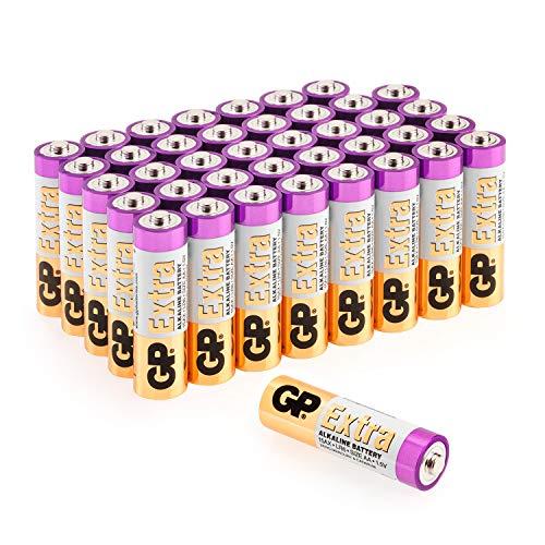 GP Extra Alkaline Batterien AA Mignon 40 Stück Vorrats-Pack, ideal für die Stromversorgung von Geräten des täglichen Bedarfs (briefkasten-geeignete Verpackung)