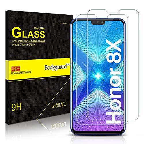Bodyguard Panzerglas für Huawei Honor 8X Schutzfolie, Blasenfrei Gehärtetem Glas, Anti-Kratzer Anti-Fingerprint Panzerglasfolie, Hüllenfreundlich Displayschutzfolie [2 Stück]