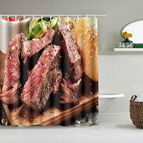Aliciga Rideau de Douche,Prime Black Angus Steak Burger Medium Rare Degré de Cuisson du Steak Impression Graphique,décor de Salle de Bains,Crochets Inclus,180 * 180