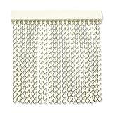 Cortinas Exterior Puerta de Cordon | 72 Tiras Plastico PVC y Barra Aluminio | Ideal para Terraza y Porche | Antimoscas | Blanco-Gris | 210 * 90