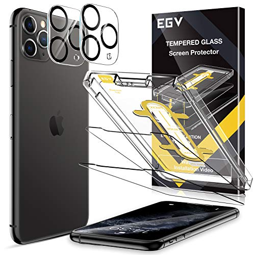 EGV [4 Pack] Tempered Glass Protector for iPhone 11 Pro Max (6.5''), [2 Pack] Screen Protector + [2 Pack] Camera Lens Protector, [Easy Installation Tray] Anti-Scratch, HD Ultra-Thin