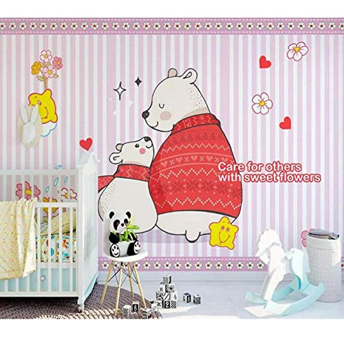3D Photo Wallpaper Mural,Kids Room Polar Bear Flowers Painting Picture Sofa TV Background Wall Non-Woven,Sticker 280 cm (W) x 180 cm (H)