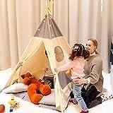 キッズテント Besrey 子供 テント 室内 ポール タープ キッズ 家 おもちゃ キッズ部屋 テント 折り畳み 子供 部屋 キャンプ テント ティピー テント (グレ-)