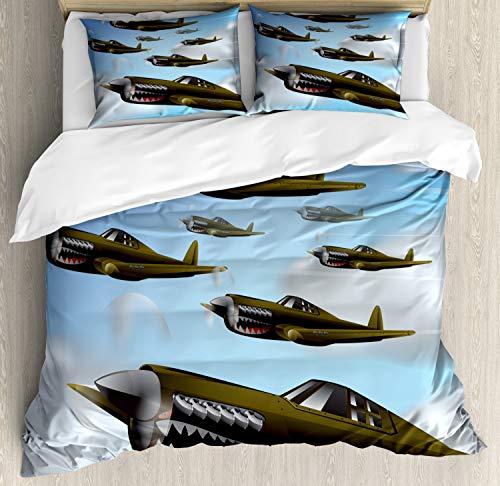 ABAKUHAUS Vliegtuig Dekbedovertrekset, Vliegtuigen in de lucht, Decoratieve 3-delige Bedset met 2 Sierslopen, 230 cm x 220 cm, Blauw Groen Grijs
