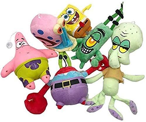 LIIT Stuffed Toy 6Pc/Set Cute Spongebob Plush Toys Spongebob/Patrick Star/Squidward Tentacles/Eugene/Sheldon/Gary Stuffed Doll Toys for Kids Girls