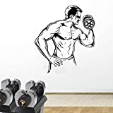 Entusiastas del fitness deportes fitness vinilo adhesivos de pared gimnasio club juvenil dormitorio hogar impermeable decorativo calcomanías de pared A6 57x64cm