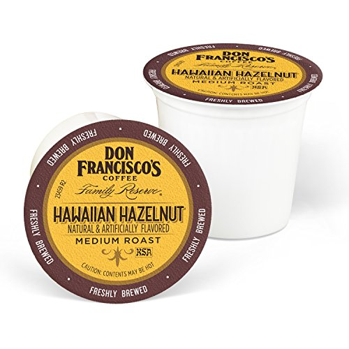 Don Francisco's Hawaiian Hazelnut Flavored (24 Count) Recyclable Single-Serve Coffee Pods, Compatible with Keurig K-Cup Brewers