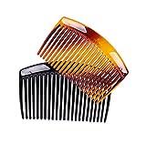 FodatTM - 4 peinetas para el pelo con dientes franceses, color negro y marrón, para mujer...
