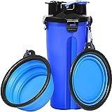 ZONSUSE Botella de Agua para Perros Portatil Envase de Comida para Perros,2 en 1,con 2 Plegable Tazones,para Perros Gatos Mascotas Adecuado para al Aire Libre,Caminar,Viajar (Azul)