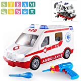 TEMI Take Apart Toys Ambulance Emergency Vehicle, STEM Construction Toys Kit w/ Sounds & Lights, DIY Playset w/ Electronic Drill & Tools for Kids Boys Girls 3 Years Old and up - Build Your Own Car Toy
