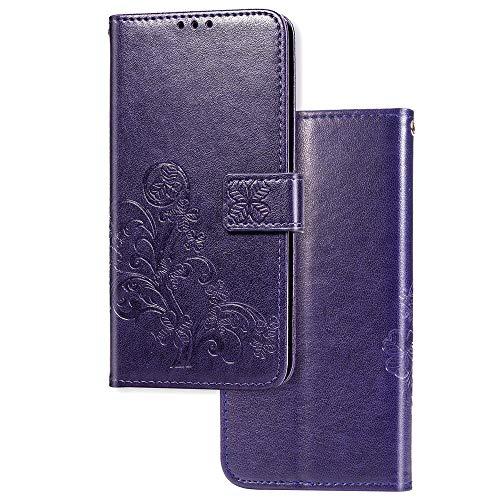 COTDINFOR Etui für Motorola Moto E6 Plus Hülle PU Leder Cover Schutzhülle Magnet Tasche Flip Handytasche im Bookstyle Kartenfächer Lederhülle für Motorola Moto E6 Plus Clover Purple SD