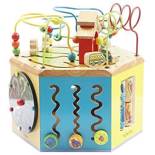 Abacus juguete rompecabezas con cuentas juguetes de madera juguetes intelectuales bebé educación temprana hexahedron juguetes educativos Regalos para niños y niñas Juguetes educativos (Color:
