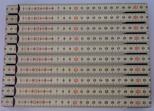 20x Schwedenmeter | Gliedermaßstab | Zollstock | B-Ware | SB - natur-GB - 2m