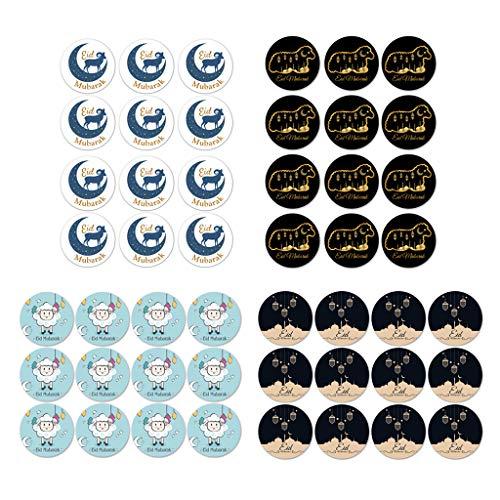 KunmniZ 120pcs Eid Mubarak Favor Gift Bag Sealing Stickers Ramadan Box Cake Seal Laber