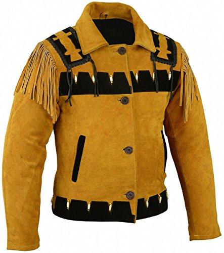 Western Reiter Lederjacke Indianer Tracht Westernjacke Jacke Karneval, Größe:52
