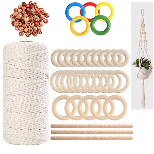 Kit de cuerda de macramé natural de 3 mm, cuerda de algodón con 100 cuentas de madera, 35 anillos de madera y 4 varillas de madera para colgar plantas, manualidades y tejer (139 piezas)