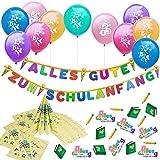 Oblique Unique Juego de decoración para iniciación escolar para niños y niñas, 10 globos, guirnalda con 20 servilletas y confeti.
