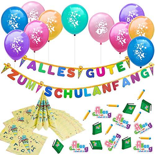 Oblique Unique® Schuleinführung Schulanfang Einschulung Deko Set für Jungs und Mädchen - 10 Luftballons + Alles Gute zum Schulanfang Girlande + 20 Servietten + Konfetti Set
