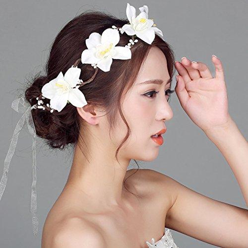 & Coiffe des fleurs de la Couronne Couronne de fleurs, Bandeau Fleur Garland Fête de mariage mariée à la main Fierté Bandeau Bandeau Bandeaux Blanc couronne de couronnes de fleurs ( Couleur : Blanc )