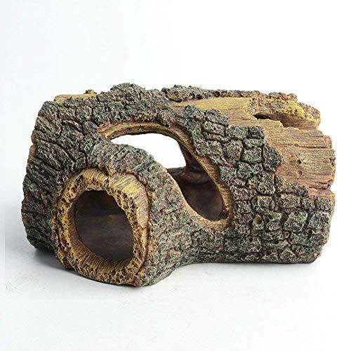 hygger Fish Tank Ornament, Aquarium Resin Cave Ornaments Fish Tank Decorations Tree Log For Hiding