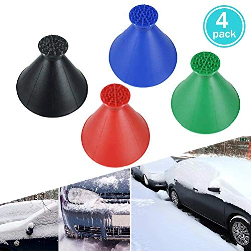 Gawell Round Windshield Ice Scraper, Magic Cone-Shaped Car Windshield Ice Scraper Funnel Car Snow Removal Shovel Tool as Gift for Christmas 4Pack