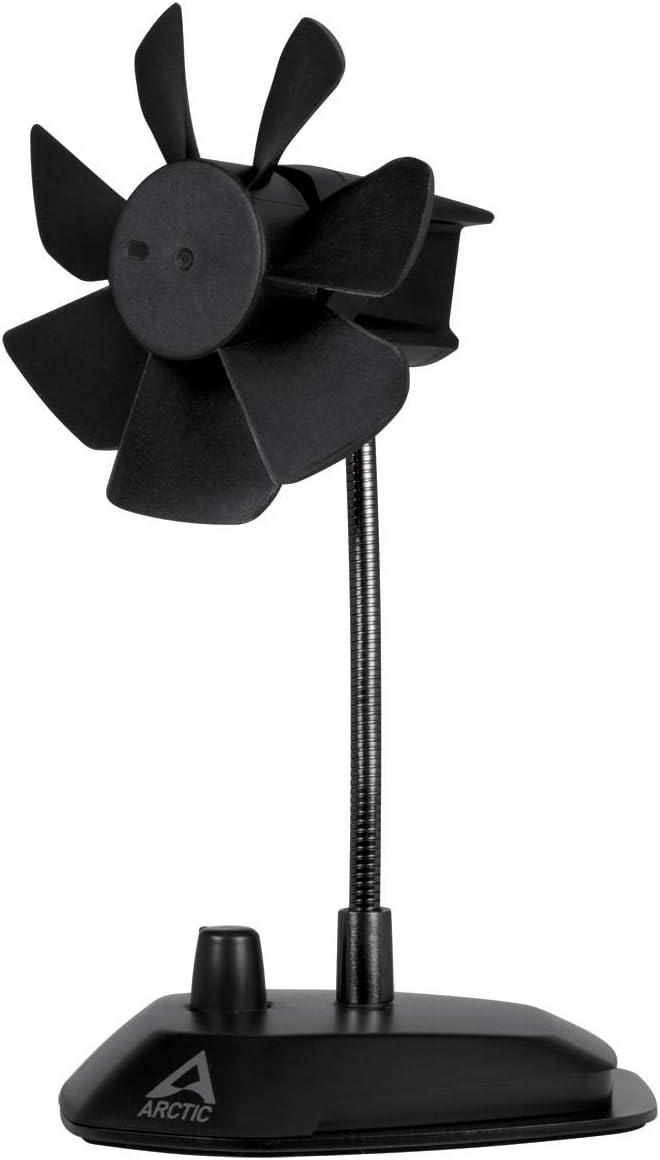ARCTIC Breeze - USB Desktop Fan with Flexible Neck and Adjustable Fan Speed, portable Desk Fan for Home, Office, Silent USB Fan, Fan Speed: 800–1800 RPM - Black, 92 mm Fan (ABACO-BRZBK01-BL)