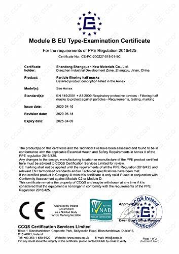 40 Stück – denkturm® FFP2 Maske, Atemschutzmaske, CE Zertifikat CE2834, geprüft EN149:2001+A1:2009 FFP2 NR - 3