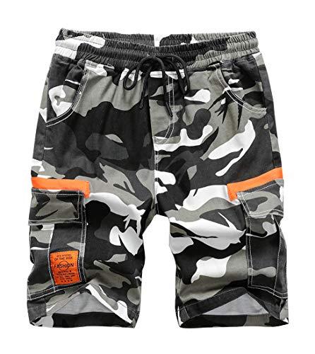 LAUSONS Camouflage Shorts für Jungen Cargo Shorts Kinder Sommer Bermuda Kurze Hosen Freizeithose 8-9Jahren