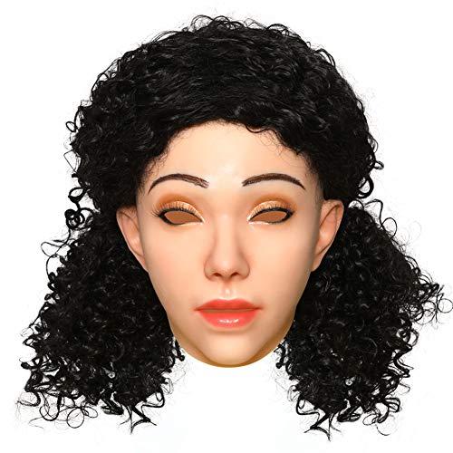 ZRB Silikon-Kopf-Gesichtsmaske Für Männer Zu Frauen Realistic Female Angel Face Kopfbedeckungen Cosplay Kostüme