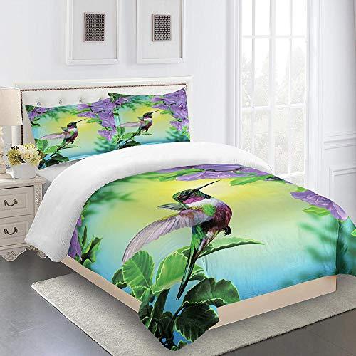 ZHIYYQ Juego de cama de tres piezas, funda de edredón doble de flores de pájaro, funda de almohada, 100% microfibra, impresión digital 3D, cómoda y suave, cremallera invisible, 200 x 200 cm