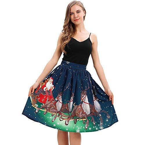 BeetleNew - Robe de Noël décontractée pour Femme - Imprimé élan - Mini Jupe plissée - Élastique - Taille Haute - Robe de Bal de Fin d'année - pour Noël, fête, dîner, Cosplay - Bleu - L