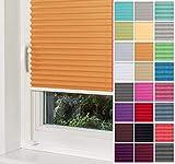 Home-Vision® Premium Plissee Faltrollo ohne Bohren mit Klemmträger / -fix (Orange, B65cm x H120cm) Blickdicht Sonnenschutz Jalousie für Fenster & Tür
