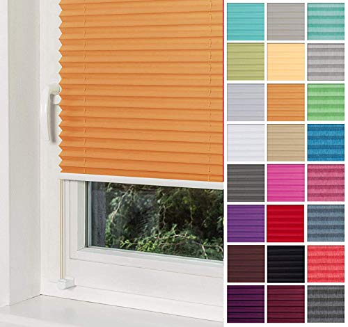 Home-Vision® Premium Plissee Faltrollo ohne Bohren mit Klemmträger / -fix (Orange, B75cm x H120cm) Blickdicht Sonnenschutz Jalousie für Fenster & Tür
