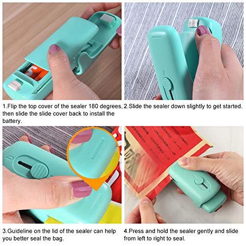 Mini Bag Sealer,Bag Heat Sealer,Handheld Heat Sealer,2 in 1 Heat Sealer and Cutter Portable Bag Resealer Sealer Quick Seal for Plastic Bags Food Storage Snack Fresh Bag Sealer (Battery Not Included)