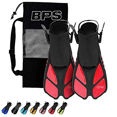 BPS Short-Blade Adjustable Swim Fins/Flippers for Swimming, Diving, and Snorkeling (Open-Toe and Open-Heel Design) (Red with Mesh Bag, XXS/XS)