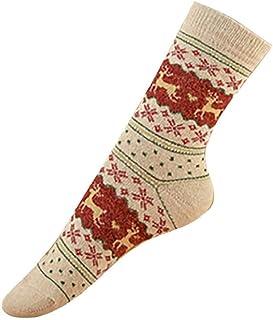 SHOBDW Camisetas de manga larga, SHOBDW Mujeres Hombres Adultos Regalo de Navidad Vintage Lindo Elks de Navidad Copos de nieve Impresos Vintage Calcetines largos para el invierno Calcetines de algodón térmico suave 2 pares