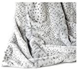 Unique Faux Fur Throw by Cynthia Rowley, Ultra Soft Plush Blanket in Brown Taupe Stripe or Snow Leopard Print (Ivory)