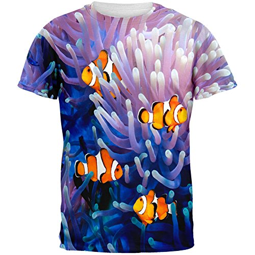 Clownfish Sea Anemone All Over Adult T-Shirt - X-Large