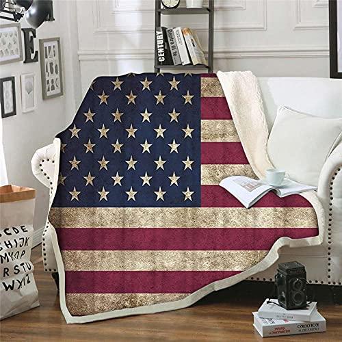 Wnyun Fleecedecke Sofadecke Kuscheldecke3D Wohndecken 150x200cm Vintage Flagge Sterne Streifen Flanelldecke Couchdecke Warm Weiche Flauschige TV Decke Bettüberwurf Microfaser Tagesdecke