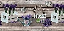 Homelife Alfombra Vinílica de Cocina Lavable y Antideslizante Alfombra Rectangular de PVC Antimanchas, Interior y Exterior | Alfombra Pasillera con Lavanda Estampada (52x300 cm)