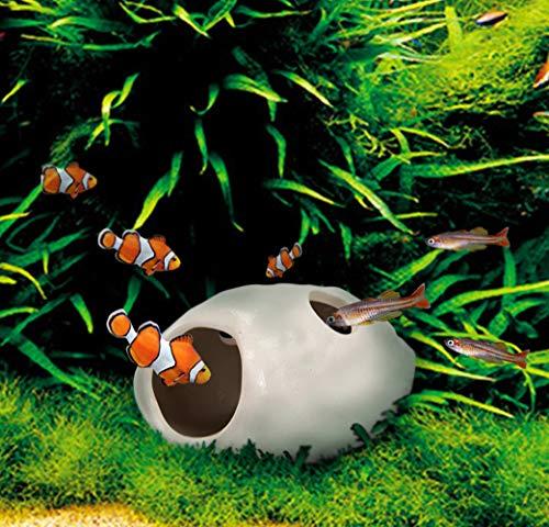 WSgift 2 Pack Safe Bone White Ceramic Aquarium Decorations Small Skull Stackable Fish Tank Decor Cave for Hiding, Betta Fish Accessories
